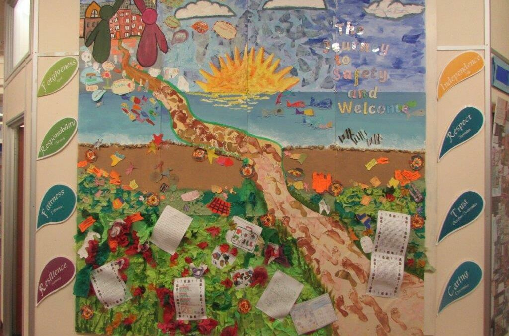 Children's collage traces refugees' steps to Swindon